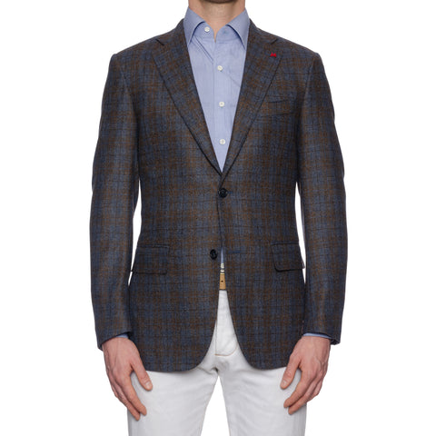 "ISAIA Napoli ""Base S"" Handmade Blue-Brown Plaid Wool-Cashmere Jacket NEW"