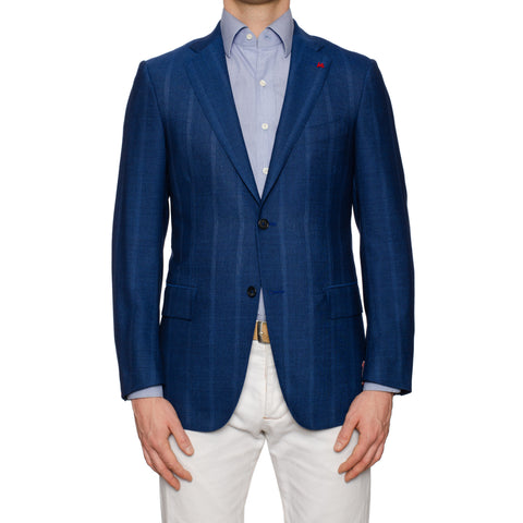 "ISAIA Napoli ""Base S"" Handmade Blue Wool-Mohair Jacket EU 48 NEW US 38"
