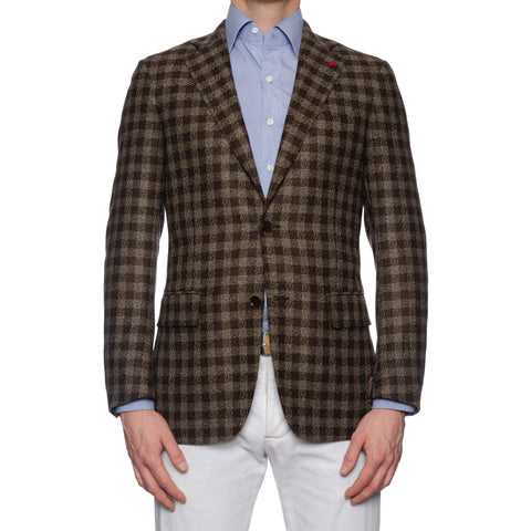 "ISAIA Napoli ""Base S"" Brown Plaid Wool-Cashmere Flannel Jacket EU 48 NEW US 38"