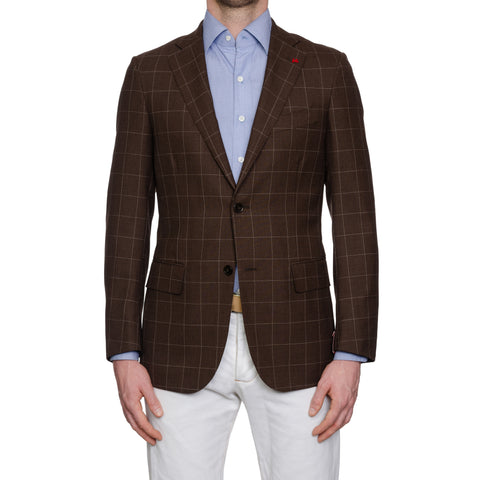 "ISAIA Napoli ""Base S"" Handmade Brown Wool Sport Coat Jacket EU 48 NEW US 38"