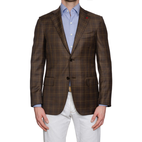 "ISAIA Napoli ""Base S"" Handmade Brown Plaid Wool Super 140's Jacket 48 NEW US 38"