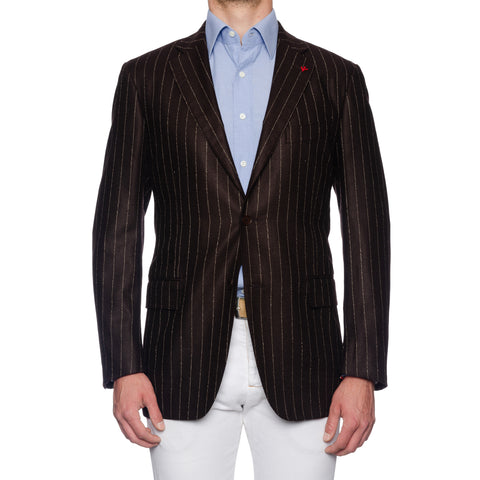 "ISAIA Napoli ""Base S"" Handmade Brown Striped Wool Jacket EU 54 NEW US 44"