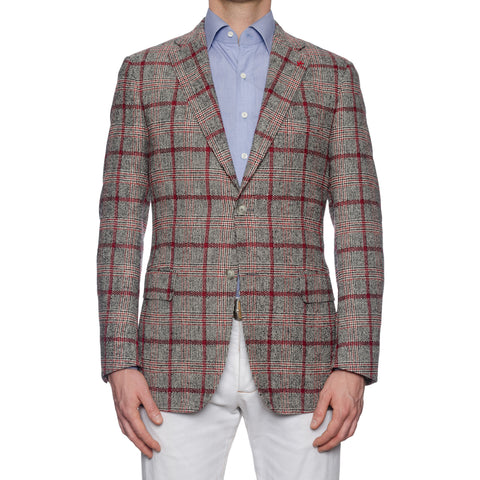 "ISAIA Napoli ""Base S"" Handmade Gray-Red Plaid Wool Flannel Jacket 52 NEW US 42"