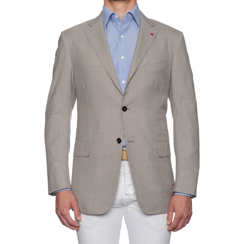 "ISAIA Napoli ""Base S"" Handmade Gray Cotton-Wool-Silk Jacket EU 54 NEW US 44"