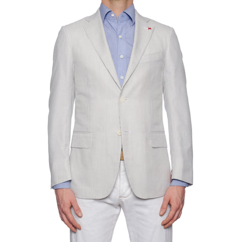 "ISAIA Napoli ""Base S"" Handmade Ivory Striped Cotton-Silk Jacket EU 48 NEW US 38"