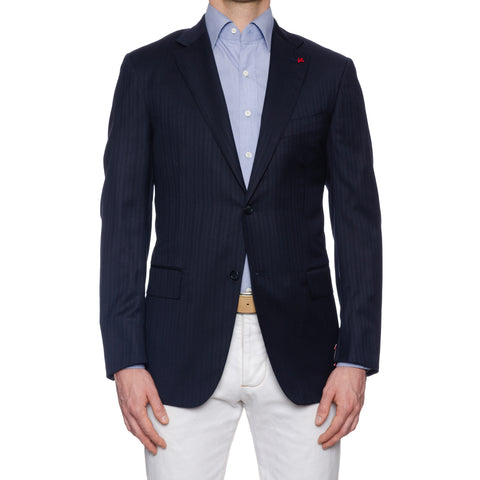 "ISAIA Napoli ""Base S"" Handmade Navy Blue Striped Wool Super 120's Jacket NEW"