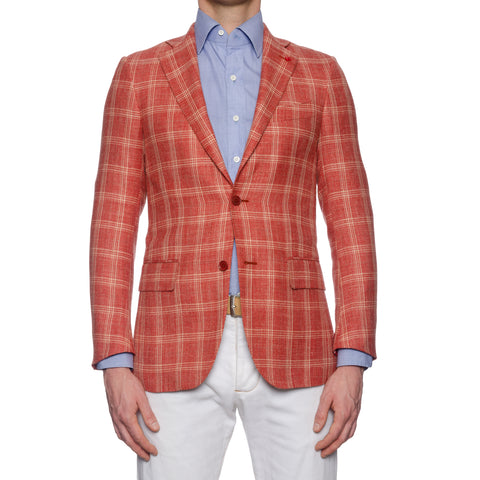 "ISAIA Napoli ""Base S"" Handmade Red Plaid Wool-Silk-Linen Jacket EU 44 NEW US 34"