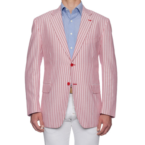 "ISAIA Napoli ""Base S"" Handmade Red Striped Cotton Sport Coat Jacket 60 NEW US 50"