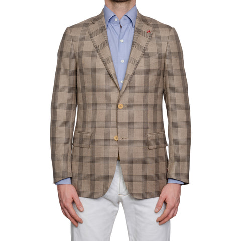 "ISAIA Napoli ""Base S"" Handmade Sand Plaid Wool-Silk Sport Coat Jacket 48 NEW 38"