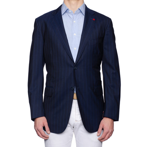 "ISAIA Napoli ""Base S"" Navy Blue Striped Silk-Wool Super 150's Jacket 56 NEW 46"