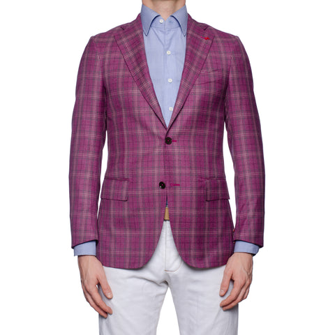"ISAIA Napoli ""Base S"" Purple Plaid Wool Super 140's Jacket EU 44 NEW US 34"