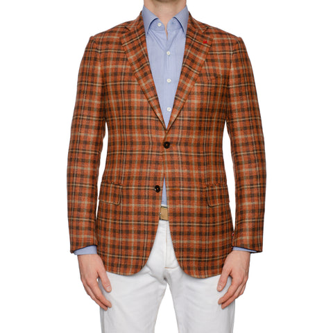 "ISAIA Napoli ""Base S"" Rust Plaid Silk-Linen-Wool Sport Coat Jacket 48 NEW US 38"