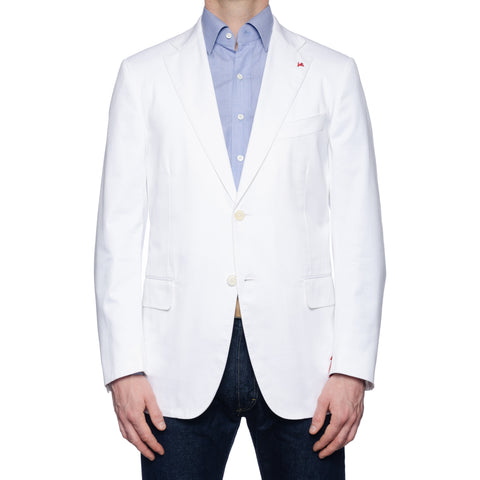 "ISAIA Napoli ""Base S"" White Cotton Twill Stretch Jacket EU 52 NEW US 42"