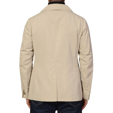 ISAIA Napoli Beige Cotton-Poly Double Breasted Peacoat Coat Jacket 40 M NEW 50