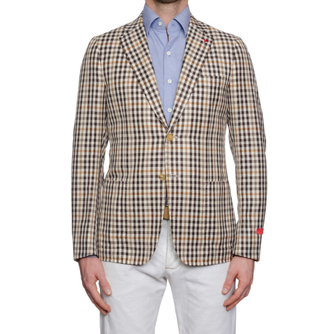 "ISAIA Napoli ""Cortina"" Beige Plaid Wool-Linen-Silk Sport Coat Jacket 50 NEW 40"