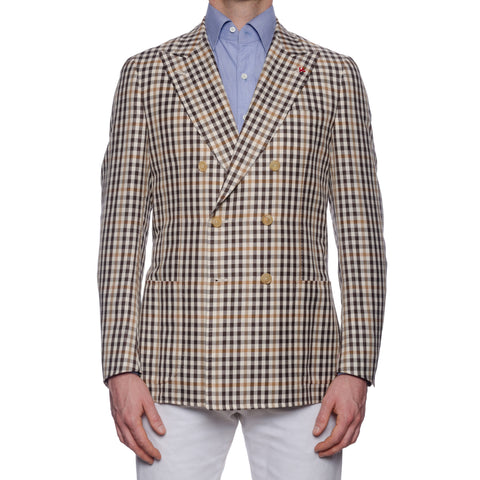 "ISAIA Napoli ""Dustin"" Beige Plaid Wool-Silk-Linen DB Jacket EU 50 NEW US 40"