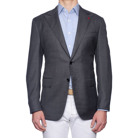 ISAIA Napoli Gray Hopsack Wool Peak Lapel Jacket EU 56 NEW US 46