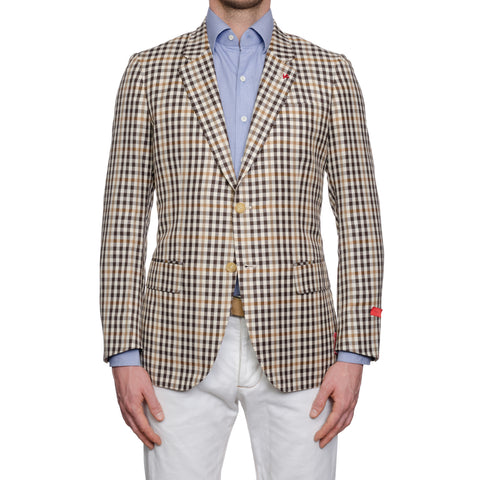 "ISAIA Napoli ""Base V"" Beige Plaid Wool-Linen-Silk Sport Coat Jacket EU 50 NEW US 40"