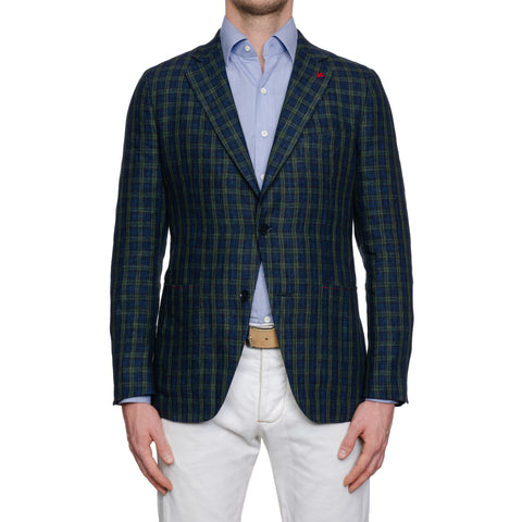 ISAIA Napoli Handmade Blue-Green Plaid Linen Sport Coat Jacket NEW