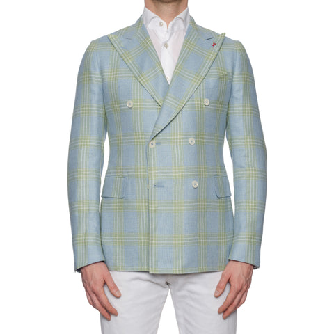 ISAIA Napoli Handmade Blue Plaid Silk-Linen-Wool DB Sport Coat Jacket NEW