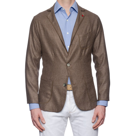 "ISAIA Napoli ""Augusto"" Brown Hopsack Wool-Linen Unlined Jacket EU 50 NEW US 40"
