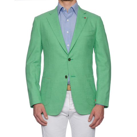 ISAIA Napoli Handmade Green Cotton-Wool Sport Coat Jacket NEW
