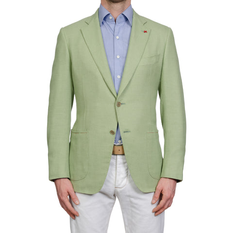 ISAIA Napoli Handmade Green Hopsack Cotton-Silk Sport Coat Jacket NEW