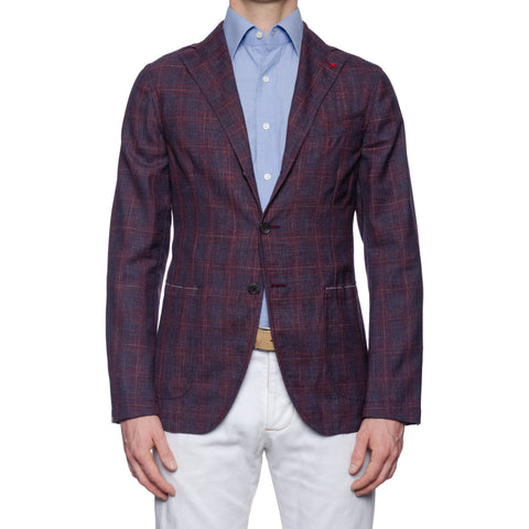 ISAIA Napoli Handmade Purple Plaid Fresco Wool Unlined Jacket EU 50 NEW US 40