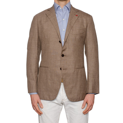 "ISAIA Napoli ""Locust"" Light Brown Wool-Silk-Linen Unlined Jacket EU 50 NEW US 40"