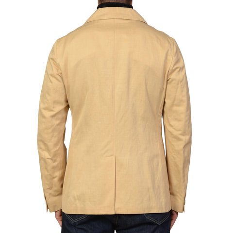 "ISAIA Napoli ""O Sole Mio"" Beige Cotton-Linen DB Peacoat Coat Jacket 40 M NEW 50"