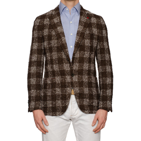 "ISAIA Napoli ""Posillipo"" Brown Plaid Boucle Wool-Mohair Unlined Jacket 50 NEW 40"