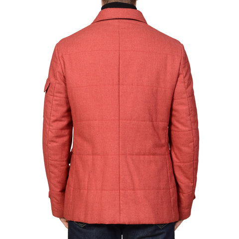 ISAIA Napoli Red Aqua Wool Cotton Car-coat Jacket Coat US 40 M NEW EU 50