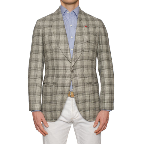 "ISAIA ""Vincent"" Gray Silk-Wool 1 Button Shawl Collar Unlined Jacket 48 NEW US 38"