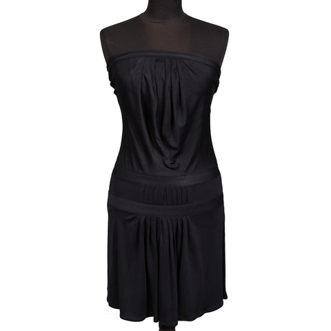 ISSA London Black Silk Strapless Dress US 2 / S