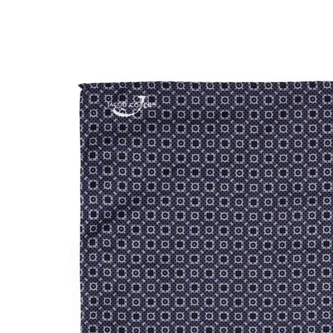 JACOB COHEN Gray Foulard Printed Cotton-Silk Pocket Square NEW