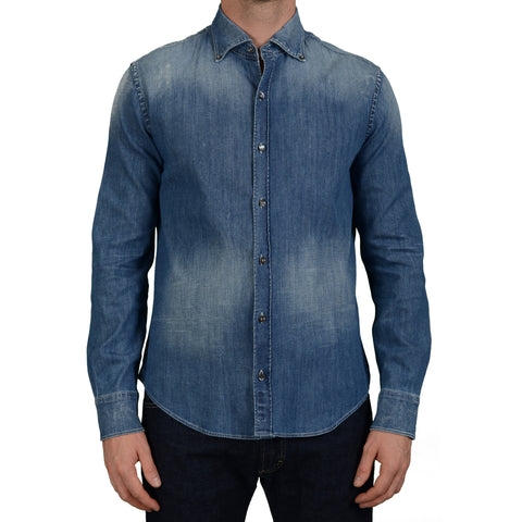 JACOB COHEN Blue Distressed Button-Down Slim Fit Denim Shirt EU 41 US 16 Slim