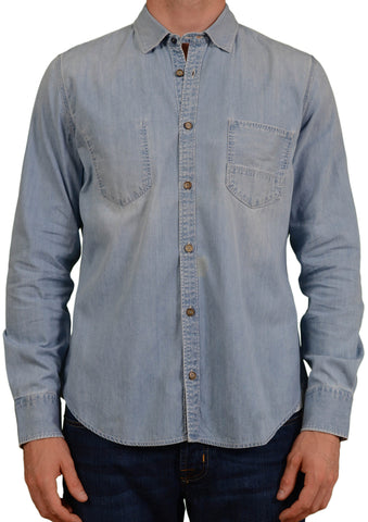 JACOB COHEN Light Blue Distressed Slim Fit Denim Shirt EU 41 / US 16 - SARTORIALE - 1