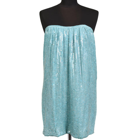 JAY AHR Paris Turquoise Blue Silk Sequin Bustier Cocktail Dress Size S / US 4
