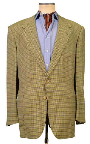 JAY KOS New York Green Plaid Wool Jacket Blazer EU 60 US 50 Big Size
