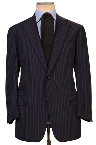 JAY KOS New York Navy Blue Striped Wool Business Suit EU 54 US 44 - SARTORIALE - 1