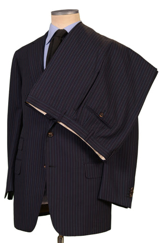JAY KOS New York Navy Blue Striped Wool Business Suit EU 54 US 44 - SARTORIALE - 4