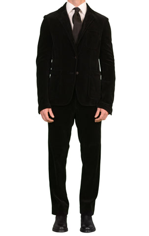 JAY KOS New York Solid Black Cotton Velvet Training Suit EU 50 US 40 - SARTORIALE - 1