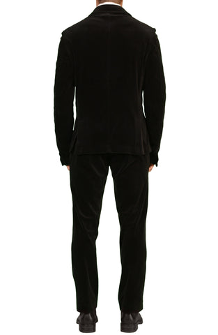 JAY KOS New York Solid Black Cotton Velvet Training Suit EU 50 US 40 - SARTORIALE - 2