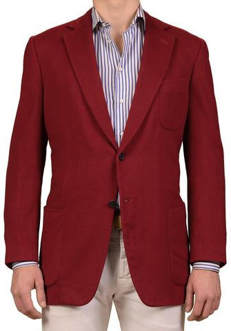 JAY KOS New York Solid Burgundy Wool Flannel Blazer Jacket EU 56 US 46