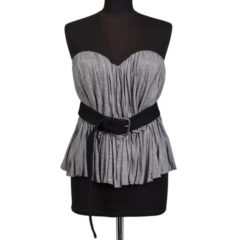 LA PETITE S* Gray Sleeveless Top with Belt NEW US 10