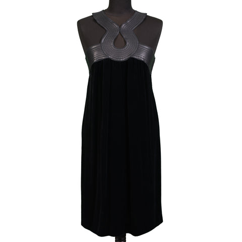 JEAN PAUL GAULTIER Black Silk Blend Velvet Dress with Leather Details IT 40 US 6
