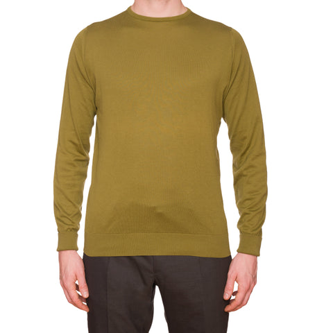 JOHN SMEDLEY Olive Sea Island Cotton Crewneck Sweater EU 50 NEW US M UK Made