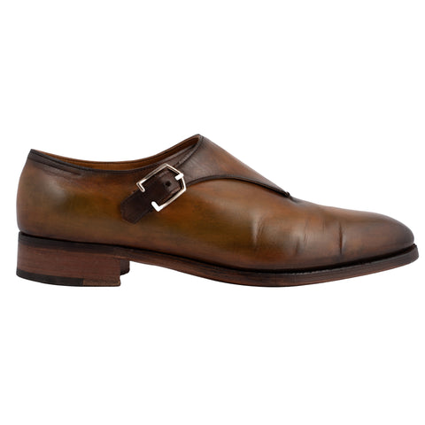 "JOHN LOBB By REQUEST ""Jermyn III"" Brown Monk Strap Shoes UK 6E US 7 Last 7000"