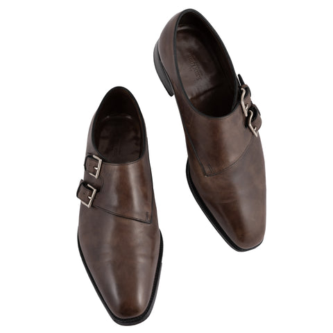 "JOHN LOBB ""Chapel"" Parisian Brown Leather Double Monk Shoes UK 6.5E US 7.5 Last"