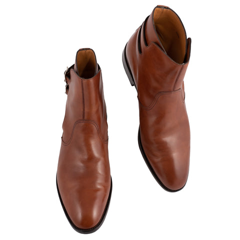 "JOHN LOBB ""Deauville"" Brown Calf Leather Jodhpur Boots UK 6.5E US 7.5 Last 7000"